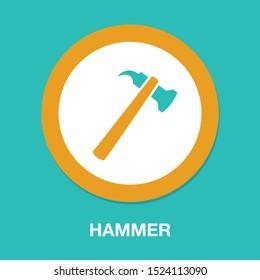 vector Hammer symbol, Hammer icon - repair tool - carpentry work equipment - industrial tool