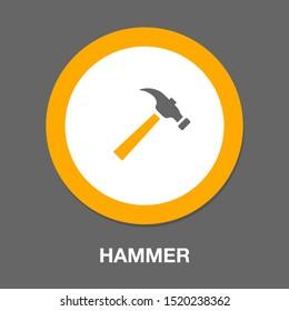vector Hammer symbol, repair icon- carpentry work equipment - industrial tool