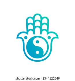 Vector Hamsa hand Logo. Hamsa and yin yang symbol for logo design.