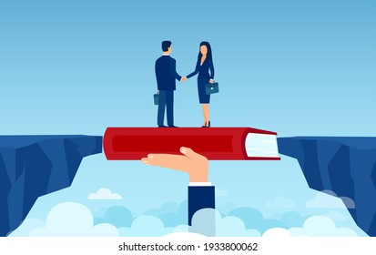 Vector of a hand with book bridging  the gap between a businessman and a businesswoman