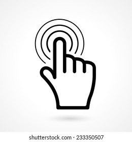 vector hand click cursor or pointer icon on white background
