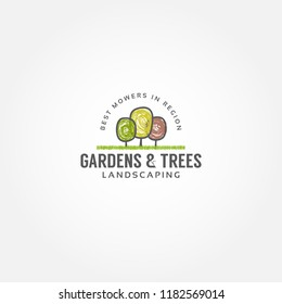 Vector hand darawn tree illustration set. Tree, fruit, gardening label, logo, icon, nature, eco, green, organic, outdoors design.