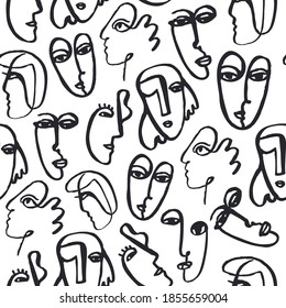 Vector hand dawn faces seamless pattern. Ink painted abstract cubism people background, doodle, sketch, art poster. Modern abstract faces.