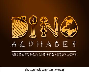 Vector hand dino drawn art font. Colorful dinosaur alphabet. Decorative typeface. Cute paleontology letters for your design. Vector font set.