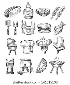 vector hand draw barbecue icon set on white
