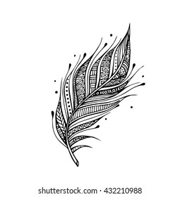 Vector of hand draw Bird feathers in boho style, tribal concept