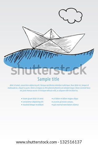 Vector Hand Draw Boat Template In Modern Design With Space For Your Content Paper
