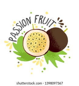 Vector hand draw colored passion fruit illustration. Brown yellow passion fruit with pulp, fruits bones and green leaves. Fresh tropical passion fruits illustration on white background