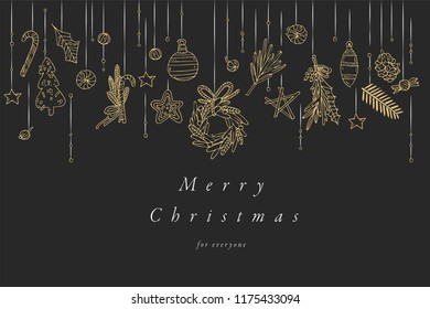 Vector hand draw design for Christmas greetings card golden color. Typography and icon for Xmas background, banners or posters and other printables. Winter holidays design elements