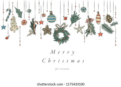 Vector hand draw design for Christmas greetings card colorful color. Typography and icon for Xmas background, banners or posters and other printables. Winter holidays design elements