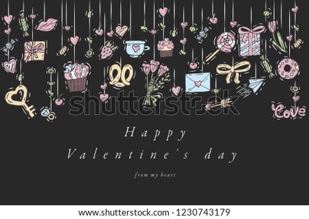 Vector Hand Draw Design Happy Valentines Stock Vector Royalty Free
