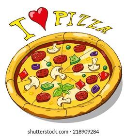 Vector hand draw doodle sketch pizza cartoon