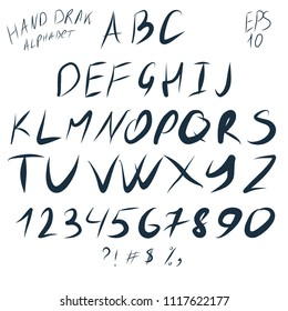 Vector Hand draw English Alphabet with Digitals
