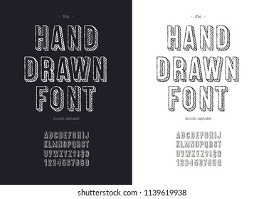 Vector hand draw font set for t shirt, book, decoration, party poster, logo, promotion, card, sale banner, printing on fabric. Cool alphabet modern 3d typography. Trendy typeface. 10 eps