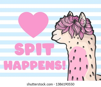 vector hand draw illustration of cute alpaca or llama on white background with blue stripe cartoon poster with lettering quote spit happens