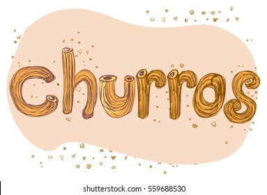 Vector hand draw illustration Mexican churros