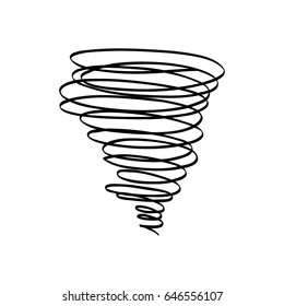 Vector hand draw illustrations tornado. Doodle style on white background