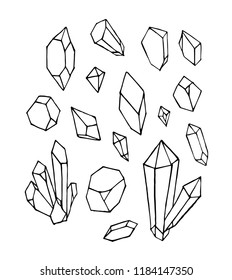 Vector of hand draw mineral crystal stone isolated on white