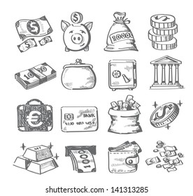 vector hand draw money icon set on white