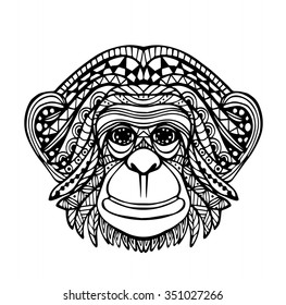 Vector of Hand draw Monkey face in zentangle style