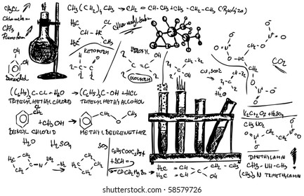 vector - hand draw Organic Chemistry on background