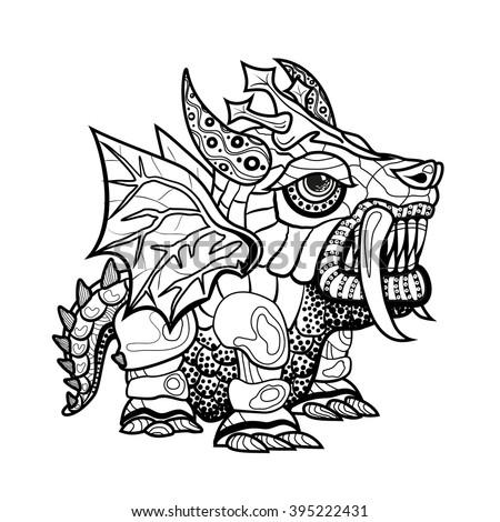 Vector Hand Draw Ornamental Dragon Outline Stock Vector Royalty