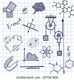 Vector hand draw phisics elements on exercise book sheet background. Eps10
