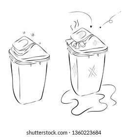 vector Hand Draw Sketch of 2 trash bin, plastic modern clean and dirty, isolated on white