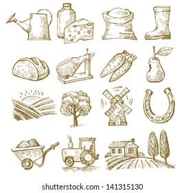 vector hand draw village icon set on white