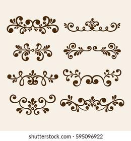 Vector hand draw vintage floral design elements. Flowers decorative elements. Floral elements for decoration set.