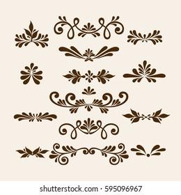 Vector hand draw vintage floral design elements.