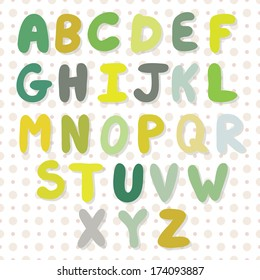 Vector hand drawing alphabet in bright colors on the doted pattern. Colored letters with shadows.