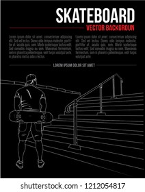 Vector hand drawing background with skateboarder and stairs, outline style graphic