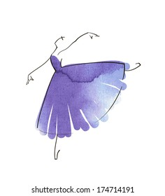 vector hand drawing ballerina figure, watercolor