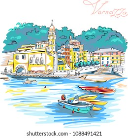 Vector hand drawing of colorful houses, boats and church in Vernazza fishing village in Five lands, Cinque Terre National Park, Liguria, Italy.