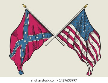 vector of hand drawing of crossing usa flag and confederate flag
