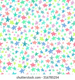 Vector hand drawing cute cartoon stars seamless pattern background template