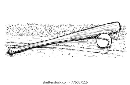 Vector hand drawing drawn illustration of baseball bat and ball on the playground field ground.