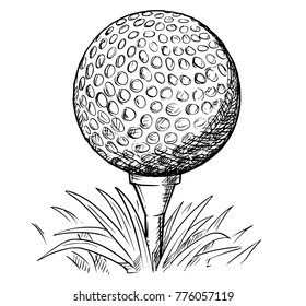 Vector hand drawing drawn illustration of golf ball on tee and grass.