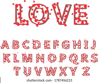 Vector hand drawing of the English alphabet. Uppercase volumetric red letters of the Cyrillic alphabet. English romantic font hearts on white isolated background.