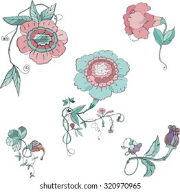 vector hand drawing flowers elements in chinoiserie style for scrapbooking, Save the date card, postcard, flyer or wedding invitation, wallpaper