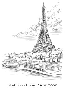 Vector hand drawing Illustration of Eiffel Tower, landmark of  Paris, France in black color isolated on white background. Cityscape with Eiffel Tower, view on Seine river embankment.