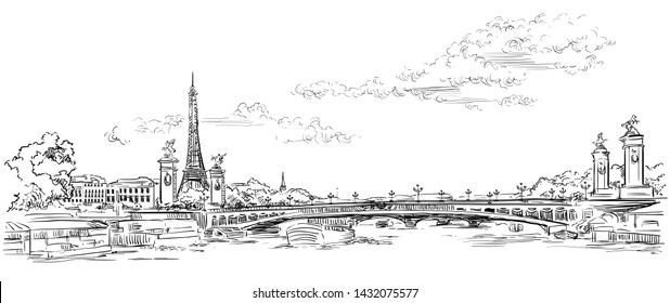 Vector hand drawing Illustration of Eiffel Tower, landmark of Paris, France in black color isolated on white background.Cityscape with Eiffel Tower and Pont Alexandre 3, view on Seine river embankment