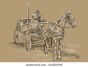 Vector hand drawing Illustration horse-drawn carriage with coachman. Monochrome vector hand drawing sketch illustration in black and white colors isolated on beige background.