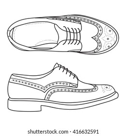 Vector hand drawing illustration with men fashion shoes.Doodle illustration
