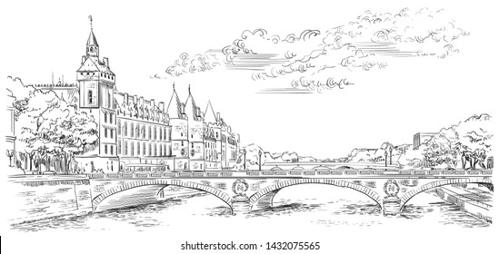 Vector hand drawing Illustration panoramic cityscape of  Conciergerie, landmark of Paris, view on Seine river embankment. Vector illustration in black color isolated on white background.