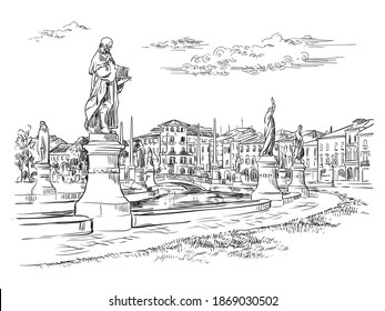 Vector hand drawing illustration of Prato della Valle in Padua. Venice cityscape hand drawn sketch in black color isolated on white background. Travel concept. For print and design.