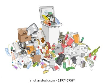Vector hand drawing illustration of Trash can. Concept of Recycles Day and ecology