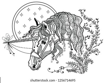 Vector hand drawing illustration zentangle unicorn in black color isolated on white background. Doodle unicorn illustration. Coloring fantasy Unicorn with zentangle elements.
