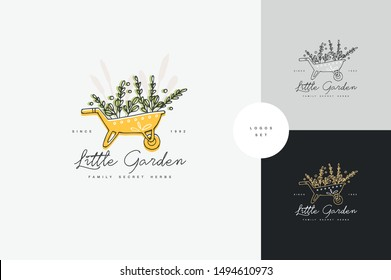 Vector hand drawing logo or badge and icon for gardening or flowers shop. Collection symbol of wheelbarrow with green branches